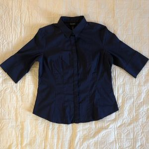 Navy blue 3/4 sleeve button-down WHBM size 16